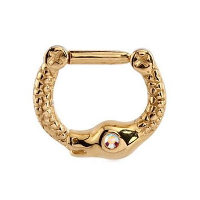 Gold Plated Jewelled Snake Septum Clicker Ring - Crystal AB
