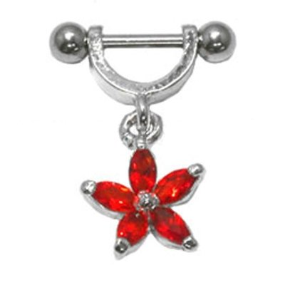 Helix Piercing Shield - Red Flower