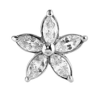 Internally Threaded Opal Jeweled Flower Attachment - Crystal