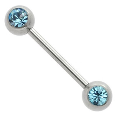 Jeweled Nipple Piercing Bar - Aqua