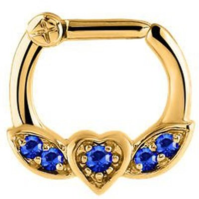 Jeweled Winged Heart Septum Clicker Ring - Blue