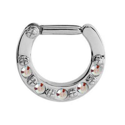 Jewelled Hinged Septum Clicker Ring - Crystal AB