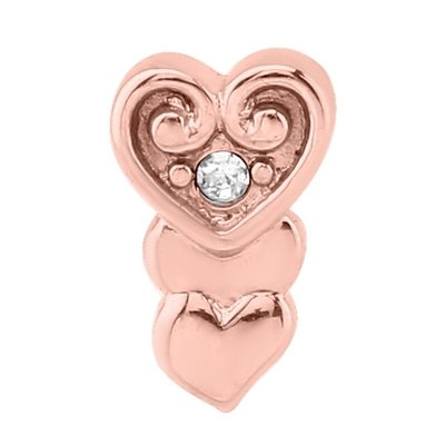 Rose Gold Jeweled Heart Threaded Attachment
