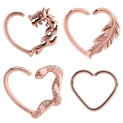 Rose Gold Open Heart Continuous Rings - Left Set