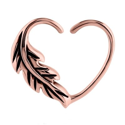 Rose Gold Open Heart Seamless Ring - Right Feather