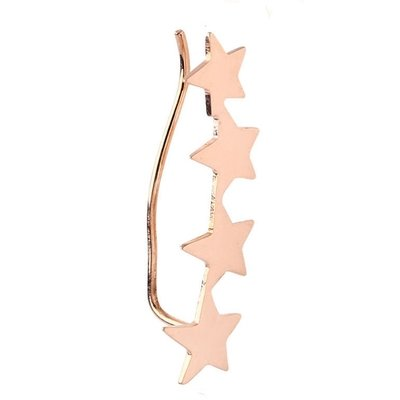 Rose Gold Surgical Steel Left Ear Climber - Stars