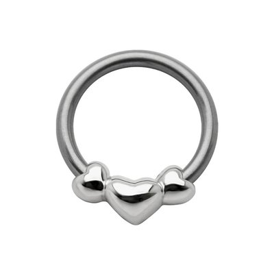 Silver & Steel Captive Bead Ring- 3 Hearts
