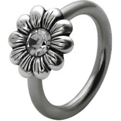 Silver and Steel Daisy Captive Bead Ring - Clear