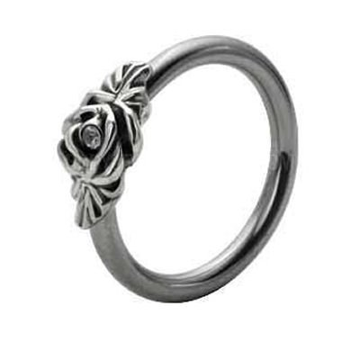 Silver and Steel Floral Captive Bead Ring - Clear