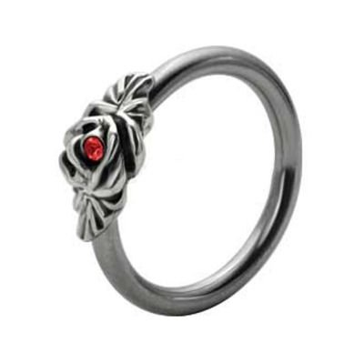 Silver and Steel Floral Captive Bead Ring - Red