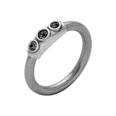 Silver & Steel Jeweled Captive Bead Ring - Black Outward Facing