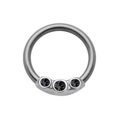 Silver & Steel Jeweled Captive Bead Ring - Black