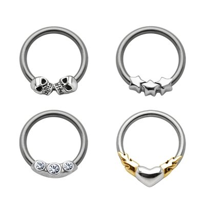 Silver Captive Bead Ring Set