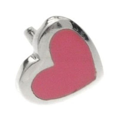 Silver Push-Fit Heart - Pink Large