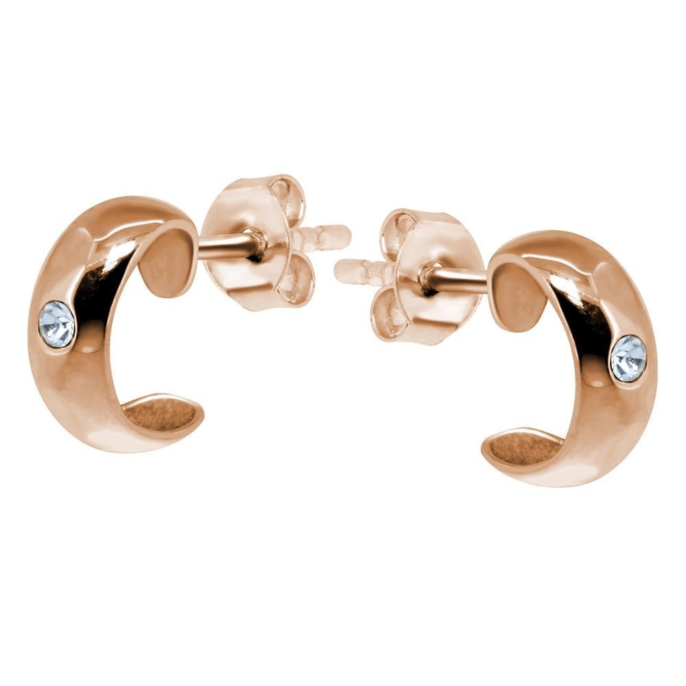 d3724d366b897 Silver Rose Gold Ear Studs with Crystal Jewel