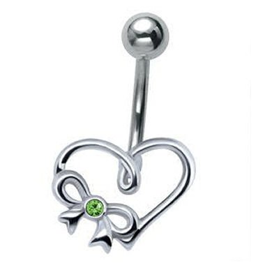Sterling Silver and Steel Heart Belly Bar - Green