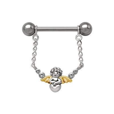 Sterling Silver and Steel Nipple Chain - Jewelled Cupid