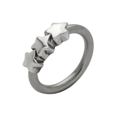 Surgical Steel and Silver Charm Captive Bead Ring - Outward Stars