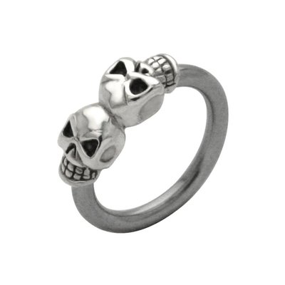 Surgical Steel and Silver Charm Captive Bead Ring - Silver Skull