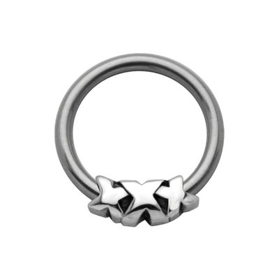 Surgical Steel Captive Bead Ring - Forwards Triple X