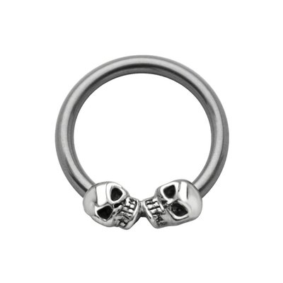 Surgical Steel Captive Bead Ring - Silver Skulls