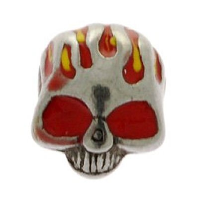Surgical Steel Enamelled Threaded Skull - Red