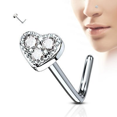 Surgical Steel Heart Nose Stud - Clear