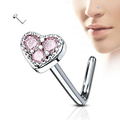 Surgical Steel Heart Nose Stud - Pink