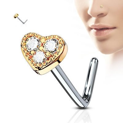 Surgical Steel Heart Nose Stud - Rose Gold