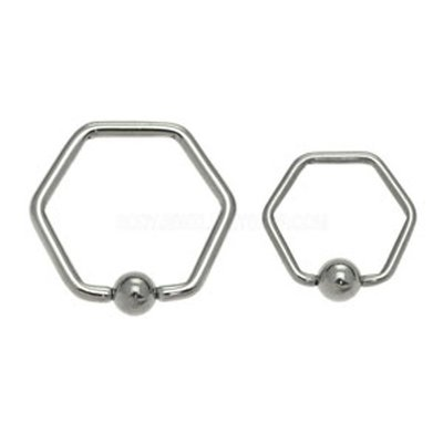 Surgical Steel Hexagon Captive Bead Ring