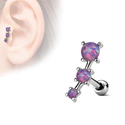 Surgical Steel Tragus & Cartilage Stud - Opal Purple