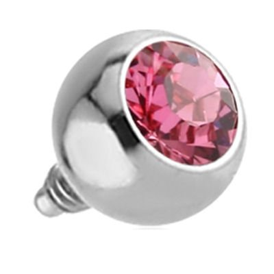 Titanium Internally Threaded Micro Jeweled Balls - Pink