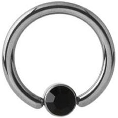 Titanium Jeweled Captive Bead Ring - Black