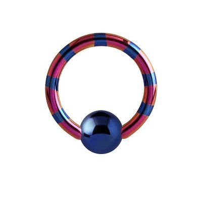 Two Tone Titanium Captive Bead Ring - Blue & Pink