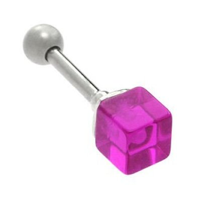 UV Cube Tragus Stud - Purple